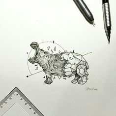 Creative artist Kerby Rosanes, an illustrator based in Manila, Philippines. Kerby Rosanes uses ink primarily in their drawings. For more drawings →View Website Animal Sketches, Animal Drawings, Cute Drawings, Drawing Sketches, Geometric Drawing, Geometric Art, Geometric Animal, Hippo Tattoo, Hippo Drawing