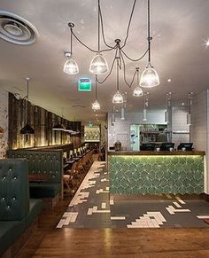 Colored Cement Tiles - Dandelion - lawn/milk, bar counter at GBK Covent Garden