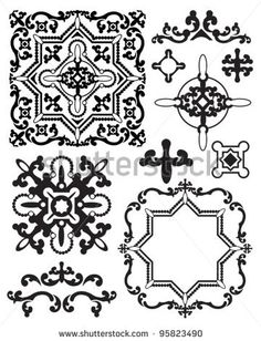 Moroccan Stencil Design Elements.  Use to create your own backgrounds or clip art for craft projects. by NuDesign.co, via ShutterStock
