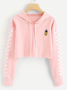 Crop Tops Sweatshirt Pineapple Embroidery Gingham Plaid Hoodies Pullover Color black Size S Girls Fashion Clothes, Tween Fashion, Teen Fashion Outfits, Outfits For Teens, Girl Outfits, Girl Fashion, Crop Top Hoodie, Cropped Hoodie, Red Hoodie