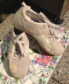 Gold Lame Ladie's Shoes Size 8 Diesel Brand Gold Print with Tan Leather Suede Sneakers Lace up US 8 Eru 38.5 Flashy Casual by MarveltyVintage on Etsy