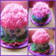 Rosette and button smash cake