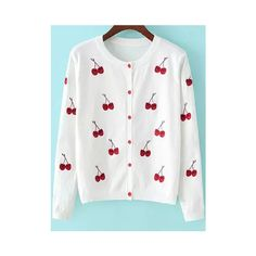 Cherry Embroidered White Cardigan (80 BRL) ❤ liked on Polyvore featuring tops, cardigans, white, loose long sleeve tops, loose cardigan, loose tops, white embellished top and white top