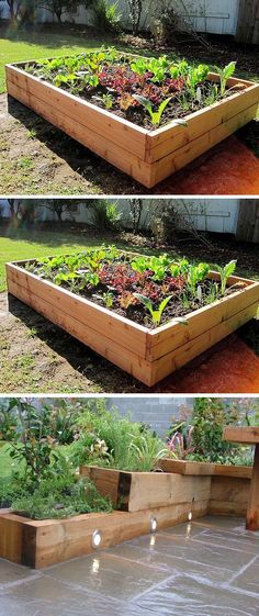 How to Make A Raised Garden Bed, love the lights