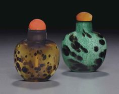 Two sandwiched glass snuff bottles