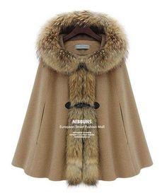 Womens Camel Fur Hoodie Cloak Woolen Coat