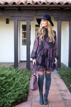 Printed Dress Over the knee boots