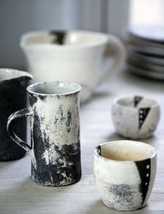 Beautiful ceramic mugs worthy of an afternoon coffee or tea in the studio
