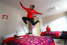 Skeleton racers Anna Fernstaedt (left) and Tina Hermann of Team Germany hang out in their Athletes Village apartment on February 6, 2018.