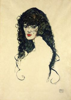 Portrait of a Woman with Black Hair by Egon Schiele Size: 45x31.7 cm