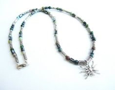 Men's spider necklace mens stone beaded by Bravemenjewelry on Etsy