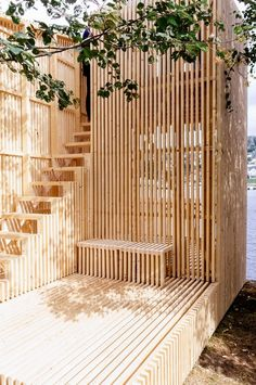 Fantastic way to allow light and air while maintaining structure. Wooden slat terrace