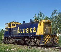 Alaska Railroad, EMD MP15DC diesel-electric switcher locomotive in Anchorage, Alaska, USA