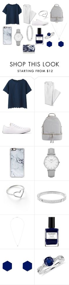 """Blue Days"" by juniper-lane on Polyvore featuring Uniqlo, Lands' End, Converse, MICHAEL Michael Kors, Zero Gravity, Topshop, Jordan Askill, Michael Kors, Dsquared2 and Nailberry"