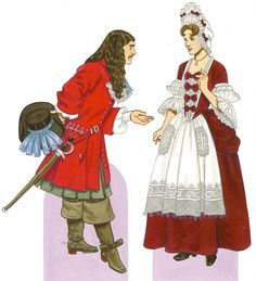 c. 1690    The man wears Rhinegrave breeches under a long, buttoned coat, a lace jabot, and large boots.  His hair is worn long and free in the style of Louis XIV.  The woman wears a high fontage headdress and the stiff stomacher that returned to fashion in the latter part of the Baroque period.  Her decorative apron, headdress, and sleeves are all lavishly trimmed with lace.