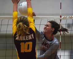 Ames' Hannah Buckels spikes the ball as Ankeny' s Liv Winker goes up for a block during the first set of the Hawkettes' three-set victory on Tuesday in Ames. Photo by Nirmalendu Majumdar/Ames Tribune http://www.amestrib.com/sports/20160913/prep-volleyball-ames-swept-by-ankeny