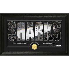 "San Jose Sharks Highland Mint 12"" x 20"" Silhouette Bronze Coin Panoramic Photo Mint - $59.99"