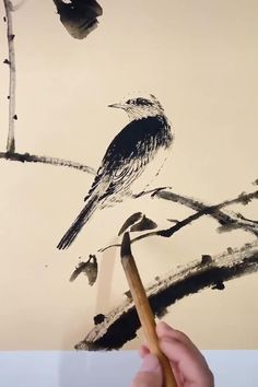 Chinese Painting Flowers, Japanese Ink Painting, Japanese Watercolor, Japan Painting, Watercolor And Ink, Japanese Art, Cool Art Drawings, Bird Drawings, Watercolor Paintings For Sale