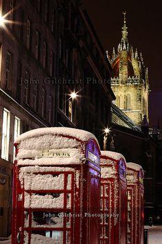 Edinburgh scotland St. Giles Crown Steeple is shown in the dark.