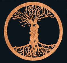 Entwined Lovers / Tree of life Cut from English Oak i dont care much for the lovers but the 'pagan' feel, and the roots as important as the branches appeals Tree Of Life Art, Celtic Tree Of Life, Tree Artwork, My Fantasy World, Celtic Patterns, Celtic Wedding Rings, Arts And Crafts Movement, Future Tattoos, Design Art