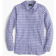 J.Crew Boy Shirt ($44) ❤ liked on Polyvore featuring tops, shirts, blouses, petite, long shirt, boyfriend shirt, long sleeve tops, long sleeve shirts and tailored shirts
