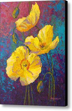 Imprimir Poppies Amarelo lona / lona de arte por Marion Rose