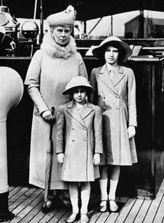 TRH The Princesses Elizabeth and Margaret with their grandmother HM Queen Mary