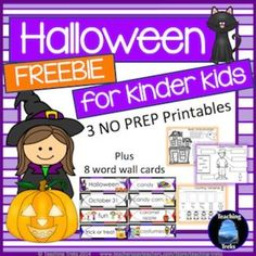 halloween for kinder kids freebie has 3 fun language and math halloween themed no prep printables and 8 illustrated halloween word wall cards - Halloween Theme Remix