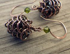 Copper chainmaille pine cone earrings by BlueBoatStudios #etsychicago #chainmaille