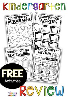 FREE huge pack of kindergarten phonics and math review worksheets for the end of the school year