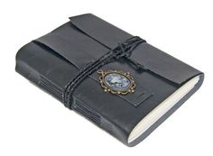 Large Black Faux Leather Wrap Journal with Lined by boundbyhand