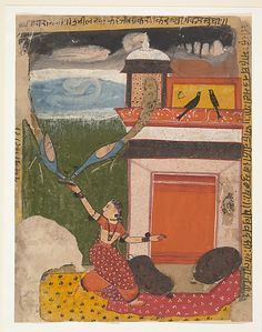 Madhumadhavai Ragini: Page from a Dispersed Ragamala Series (Garland of Musical Modes), ca. 1640–50. India (Rajasthan, Marwar). The Metropolitan Museum of Art, New York. Rogers Fund, 1955 (55.121.27) #peacock