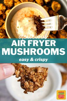 Air Fryer Mushrooms are the best game day appetizer! Light and so crispy, this easy air-fried recipe pairs well with all your favorite dipping sauces, and it's perfect for a party! Fried Mushrooms, Stuffed Mushrooms, Stuffed Peppers, Supper Recipes, Side Dish Recipes, Creamy Pasta Bake, Deep Fryer Recipes, Game Day Appetizers, Best Side Dishes