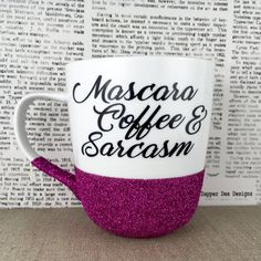 14 oz ceramic coffee mug dipped in glitter with quote/words/phrase in vinyl.  Select glitter color from options in the drop down menu to the