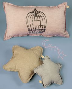 Bird cage and lovely stars cushions