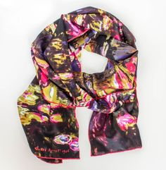 Silk Scarf with motif WATERLILIES by Claude Monet Purple silk screened by hand #Rosberg #Scarf