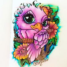 New School Love Bird. Another design I created that I'd love to put on skin. New School Tattoos. Chicano Art. Lowrider Arte. Bird Drawings.