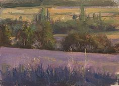daily painting titled Evening in the lavender fields - click for enlargement