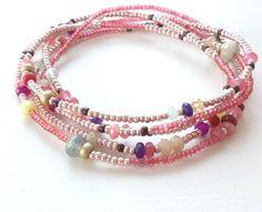 Rose Gold, Labradorite and Jade Seed Bead Long Wrap Bracelet Nonadesigns Etsy shop https://www.etsy.com/listing/245293091/beaded-wrap-bracelet-rose-gold