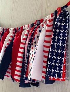 Nautical Patriotic Fabric Tie Garland - FREE Shipping