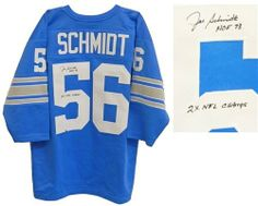 Joe Schmidt Autographed/Hand Signed Blue Custom Jersey w/HOF'73 & 53,57 NFL Champs by Hall of Fame Memorabilia. $126.95. Joe Schmidt signed blue custom Throwback jersey with 'HOF'73, 53,57 NFL Champs' inscriptions. Item comes with a Schwartz Sports Memorabilia tamper-proof numbered hologram and Certificate of Authenticity which can be verified online.