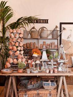 Trendy Flowers Shop Display Potting Sheds Market Displays, Store Displays, Garden Center Displays, Deco Champetre, Vibeke Design, Potting Sheds, Potting Benches, Vintage Display, Garden Shop