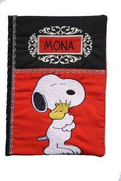 Snoopy Journal cover book cover, unique gift, snoopy and woodstock diary cover, A5 personalised name, diary, notebook, embroidered, handmade - pinned by pin4etsy.com