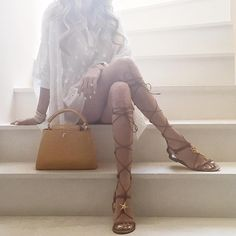 Yesterday -  #Valentino sandals (found on sale!), #LouisVuitton bag and #Giamba top.