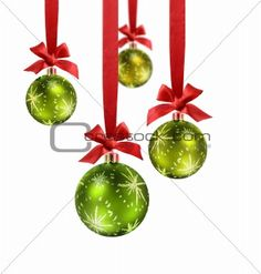 Green Christmas Balls Red Ribbon Stock Image - Image of decoration, matte: 11434023 Christmas Ribbon, Green Christmas, Diy Christmas Ornaments, Christmas Goodies, Christmas Balls, Holiday Crafts, Christmas Decorations, Christmas Parties, Christmas Stuff