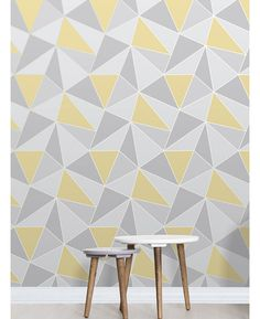 Apex Geometric Wallpaper Yellow and Grey Fine Decor This Apex Geometric Wallpaper in tones of yellow and grey features a contemporary geometric pattern with a metallic outline. Free UK delivery available More from my Wallpaper Geometric Wallpaper Living Room, Home Wallpaper, Kitchen Wallpaper, Wallpaper Panels, Living Room Grey, Living Room Decor, Metallic Wallpaper, Contemporary Home Decor, Room Colors