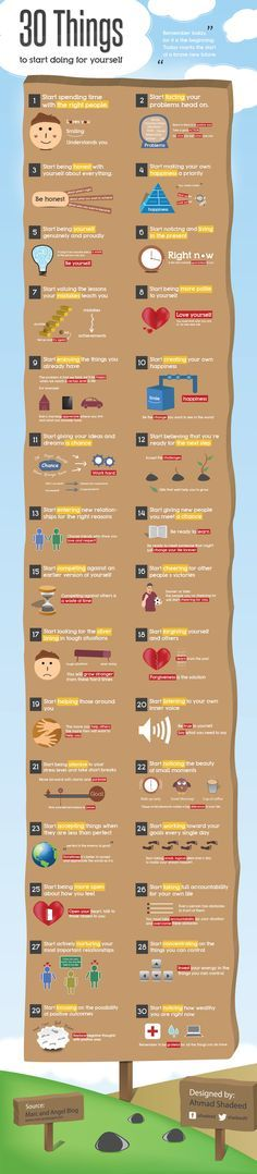 Infographic Talks about 30 things you should start doing for yourself, will help you to improve your life.