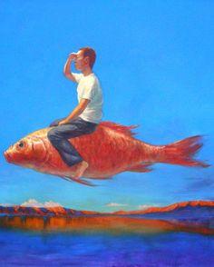 Liu Hui   Flying Fish  Oil on Canvas  47x47in  Sandra Lee Gallery