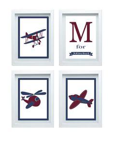 Airplane Art Nursery Decor Airplane Print Wall by FMDesignStudio, $47.00