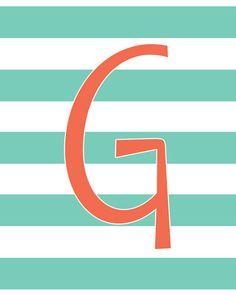 Monogram Letter Printable Art 5 Geometric Patterns and Custom Colors by MyPoshDesigns, $6.00